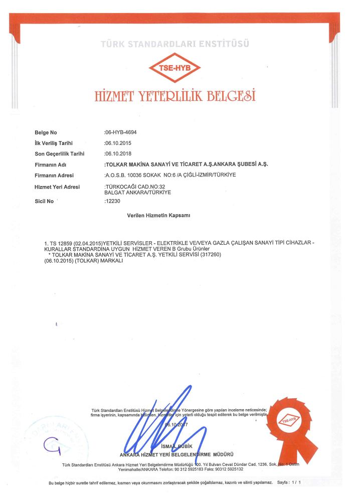 ANKARA TSE (TURKISH STANDARTS INSTITUTE) SERVICE QUALIFICATION CERTIFICATE 2018