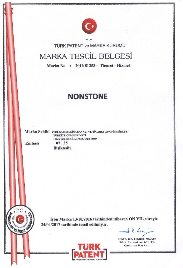 NONSTONE – TRADEMARK REGISTRATION CERTIFICATE