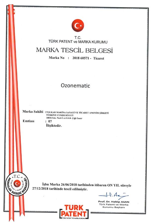 OZONEMATIC – TRADEMARK REGISTRATION CERTIFICATE