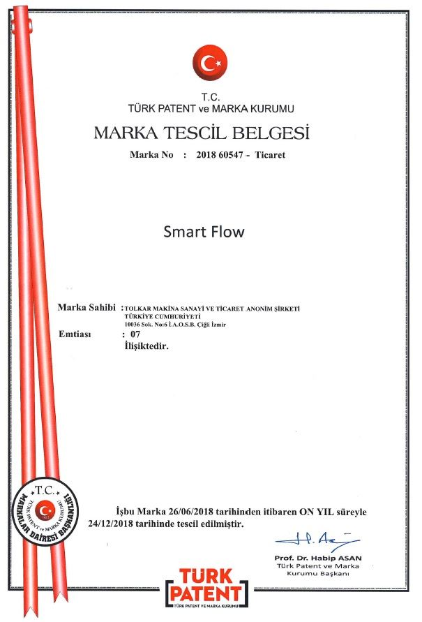 SMART FLOW – TRADEMARK REGISTRATION CERTIFICATE