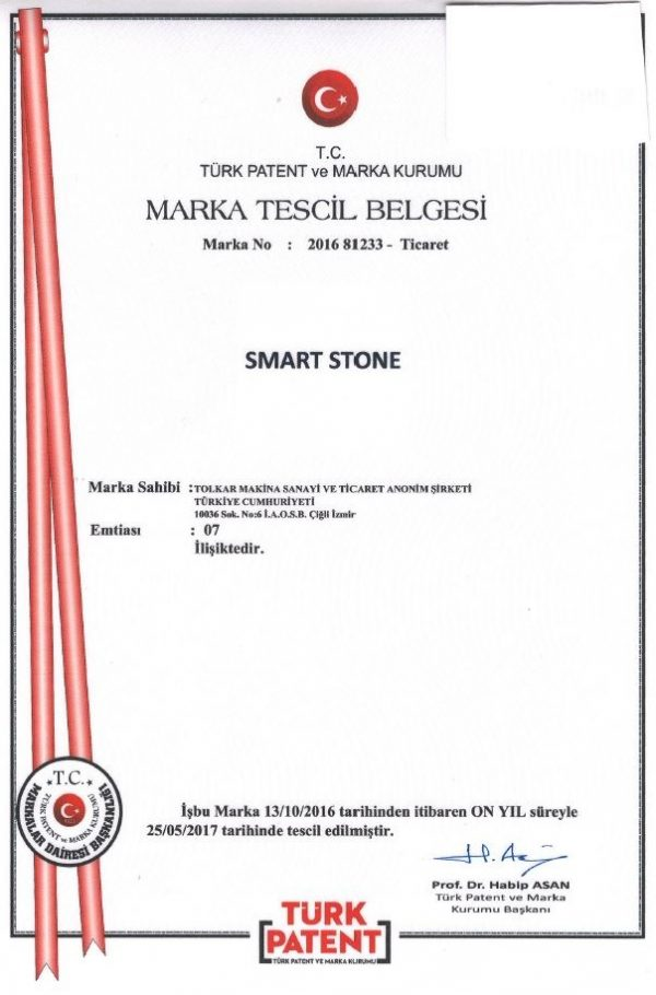 SMART STONE – TRADEMARK REGISTRATION CERTIFICATE