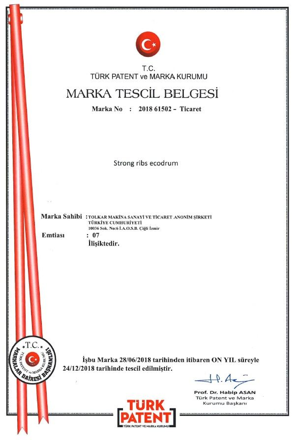 STRONG RIBS ECODRUM – TRADEMARK REGISTRATION CERTIFICATE