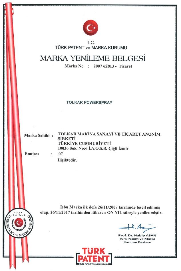 TOLKAR POWERSPRAY – TRADEMARK REGISTRATION CERTIFICATE