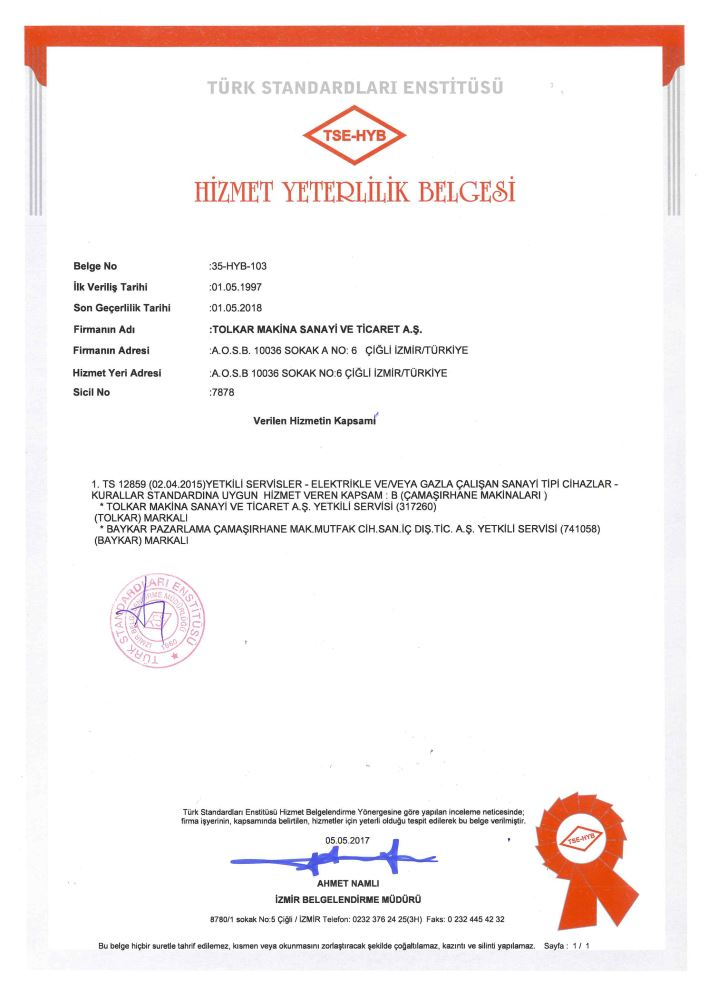TSE (TURKISH STANDARTS INSTITUTE) SERVICE CENTRE QUALIFICATION CERTIFICATE 2018