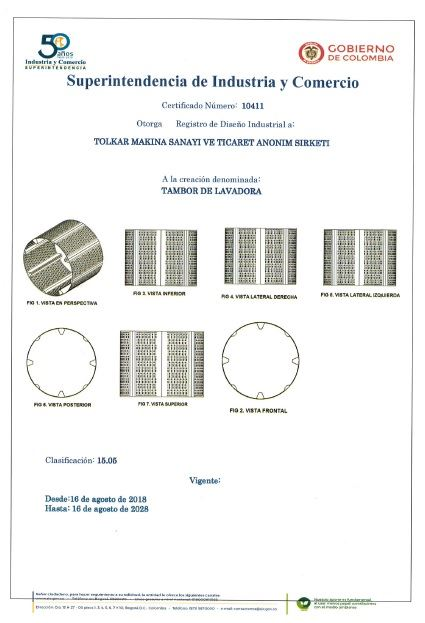WASHING MACHINE DRUM – COLOMBIA INDUSTRIAL DESIGN REGISTRATION CERTIFICATE – Page 1