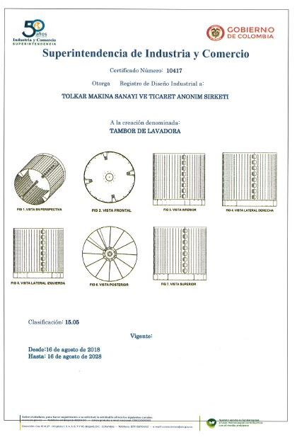 WASHING MACHINE DRUM – COLOMBIA INDUSTRIAL DESIGN REGISTRATION CERTIFICATE – Page 3