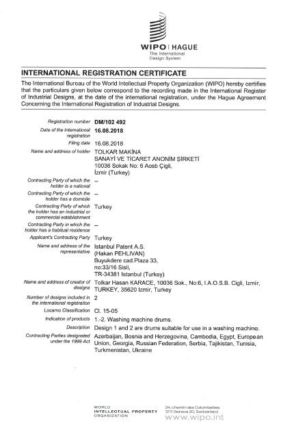 WASHING MACHINE DRUM – WIPO INTERNATIONAL REGISTRATION CERTIFICATE – Page 2