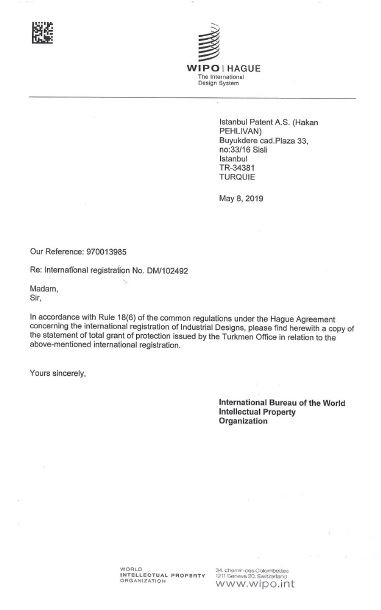 WIPO TURKMENISTAN WASHING MACHINE DRUM – REGISTRATION CERTIFICATE – Page1